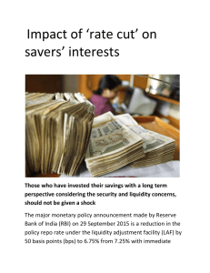 Impact of 'rate cut' on savers' interests Those who have invested
