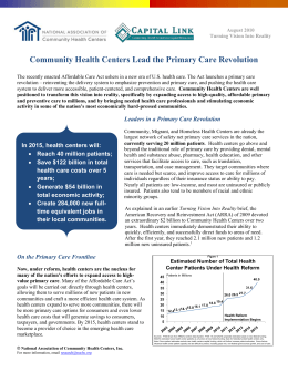 On the Primary Care Frontline - National Association of Community