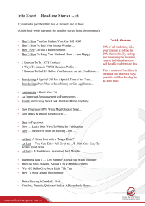 Information Sheet – Headline Starter List