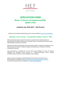 APPLICATION FORM Master of Science and Engineering (MSE)