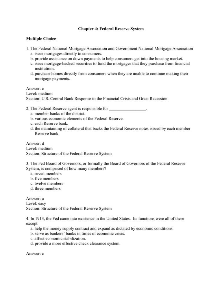 Chapter 4 Federal Reserve System Multiple Choice 1 The Federal