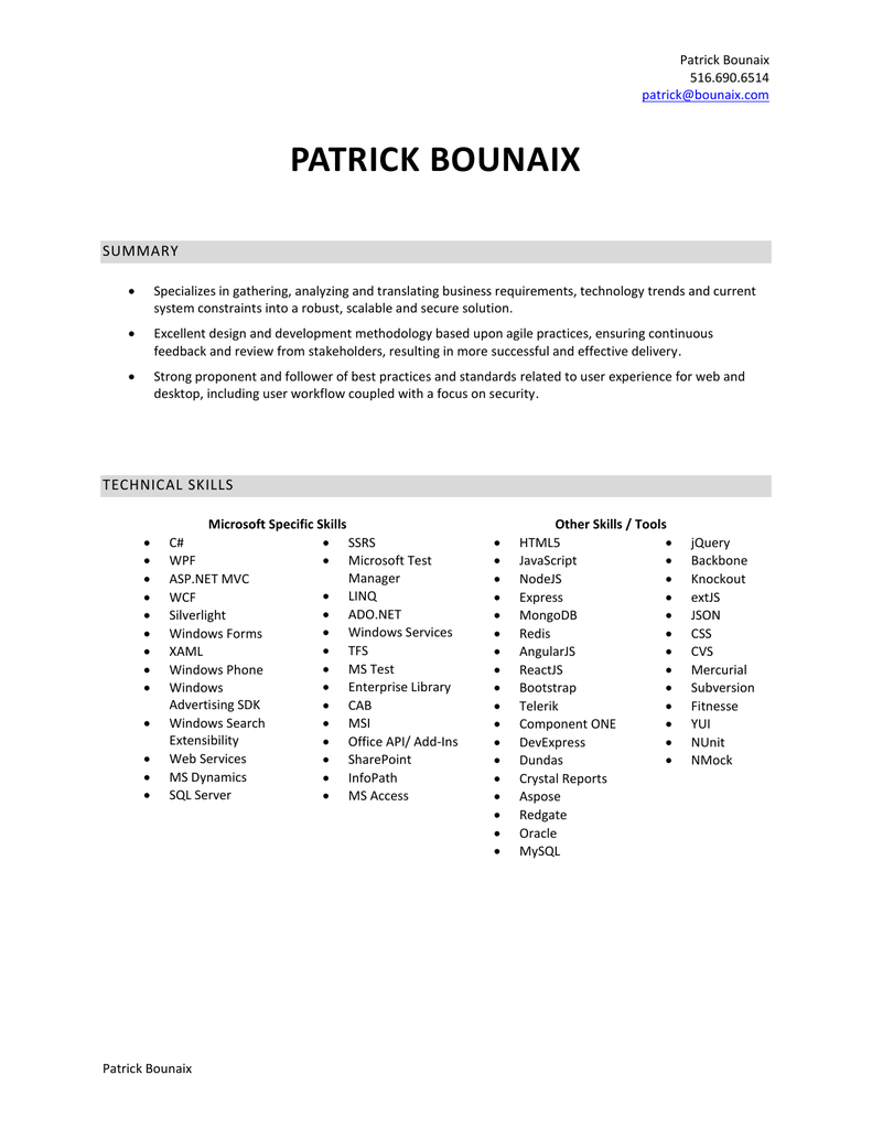 technical skills - patrick bounaix