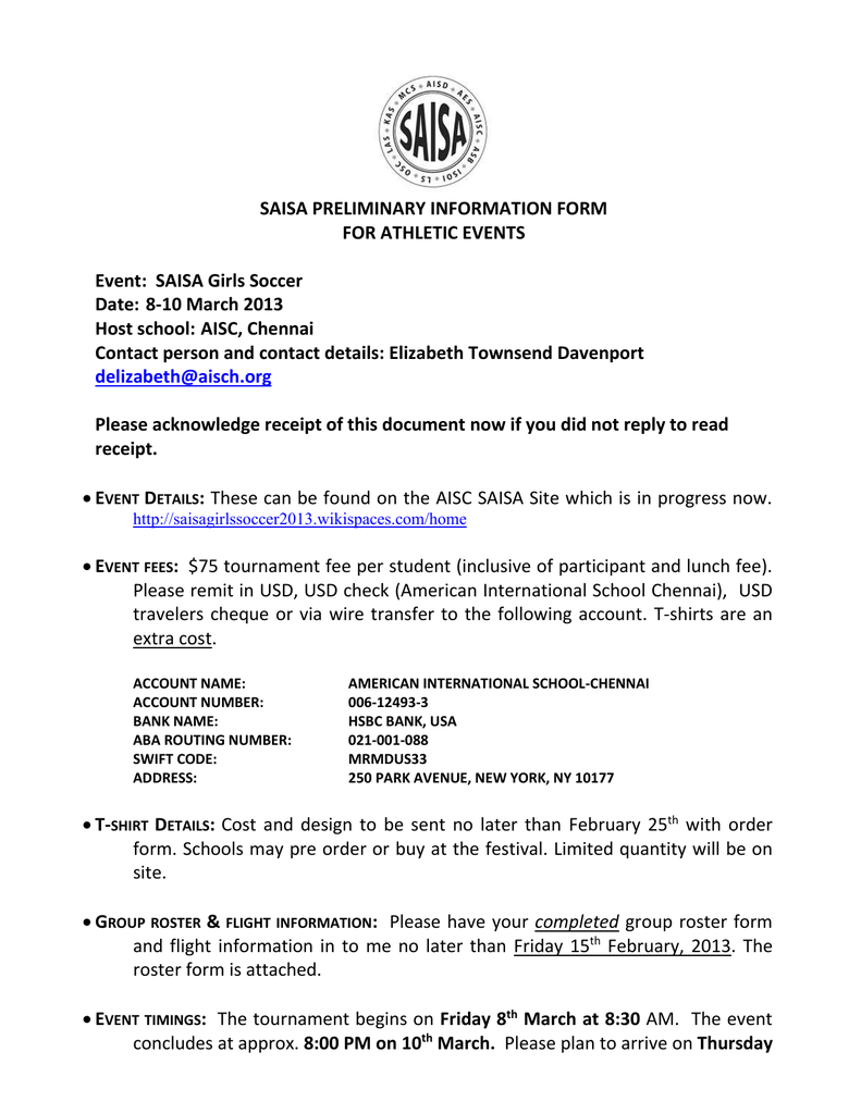 Preliminary Event Information Form AISC G Soccer