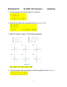 Worksheet #1 B CUSP 125 Calculus I Solutions