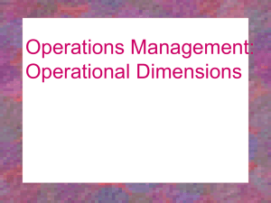 Operations Management Operational Dimensions