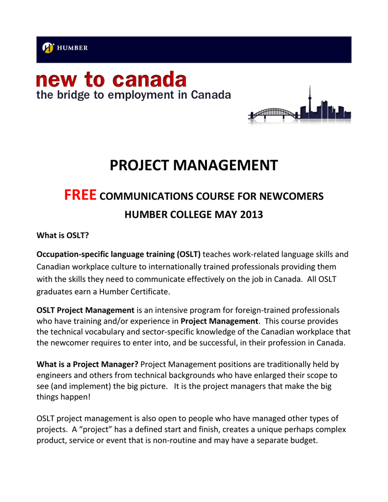 Oslt Project Management New Employment Services
