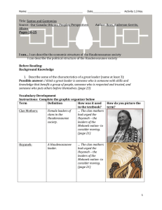 Haudenosaunee Society Economic Structure