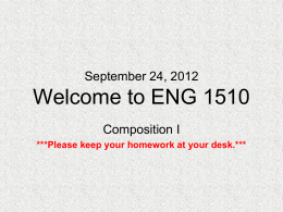 January 9, 2012 Welcome to ENG 1450