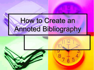How to Create an Annoted Bibliography