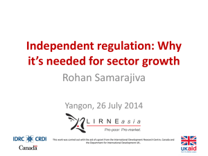 Independent regulation: Why it's needed for sector growth