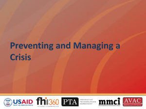 Preventing and Managing a Crisis