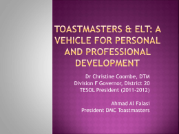 Why Toastmasters?