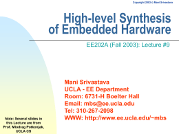 High-level Synthesis of Embedded Hardware