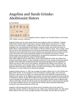 Angelina and Sarah Grimke: Abolitionist Sisters by Carol Berkin