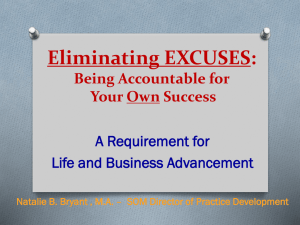 Eliminating EXCUSES: Being Accountable for Your Own Success