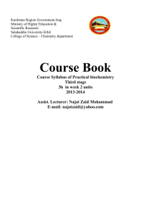 The course book of the Practical Biochemistry Experiments for 3rd