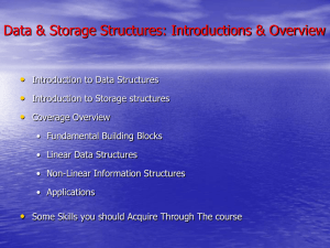 Data & Storage Structures: Introductions & Overview