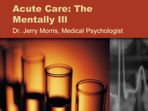 Acute Care: The Mentally Ill - Community Mental Health Consultants