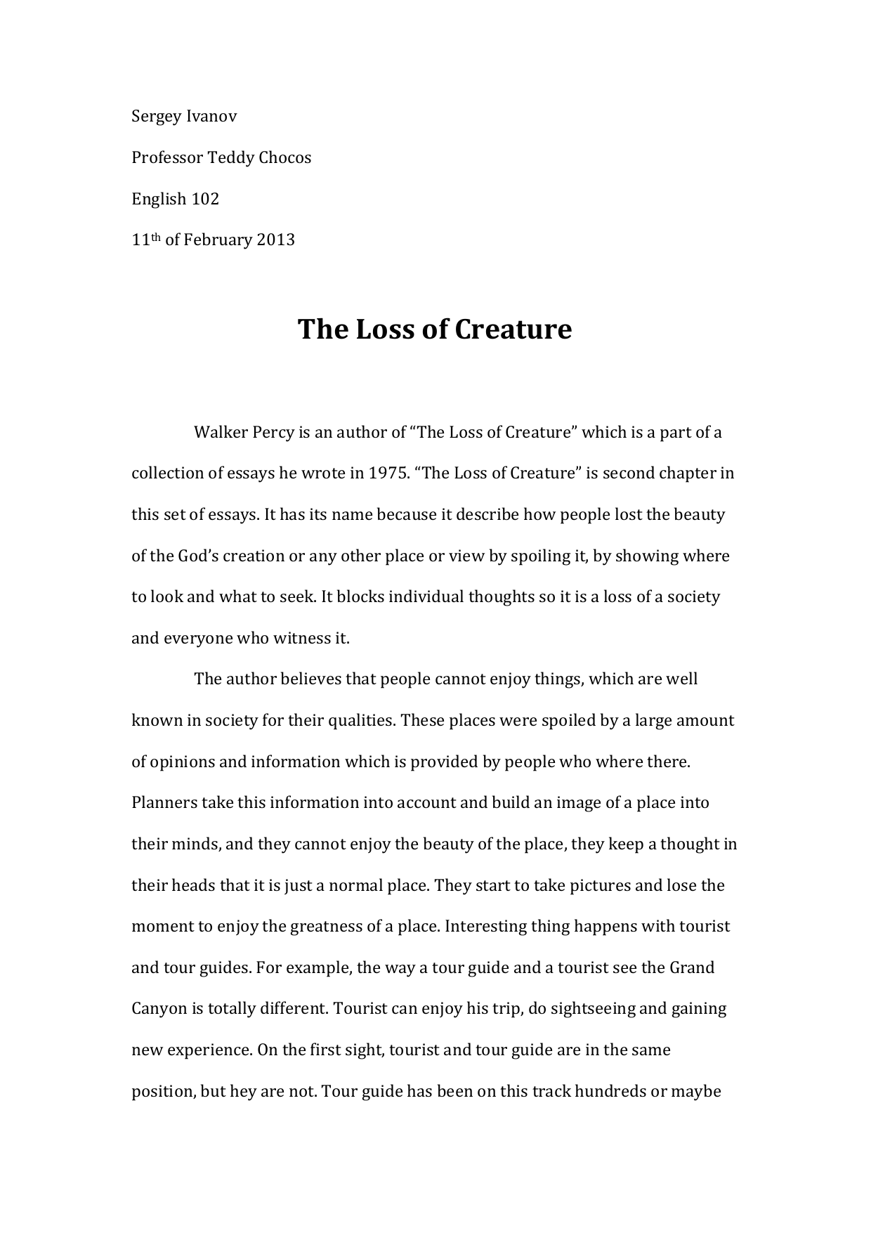 walker percys essay the loss of the creature