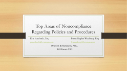 Top Areas of Noncompliance Regarding Policies and Procedures