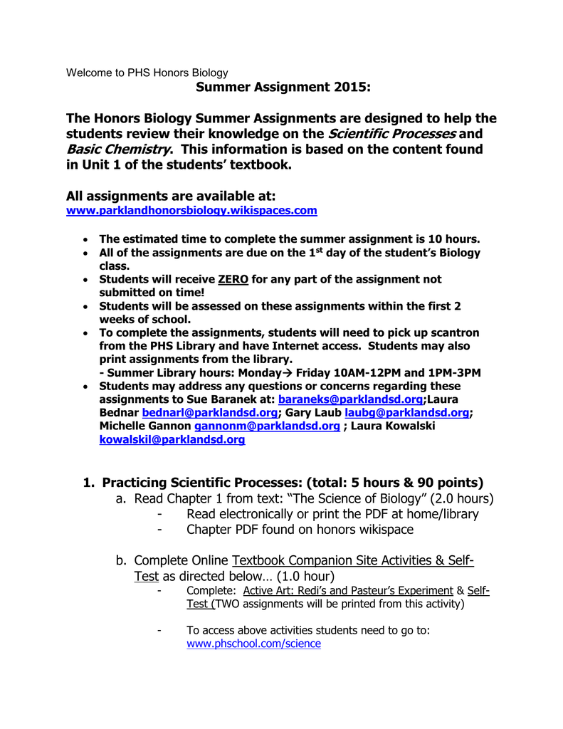 HonorsBio_SummerAssignment 15 updated