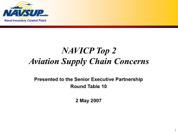 NAVICP Top 2 Aviation Supply Chain Concerns Presented to the