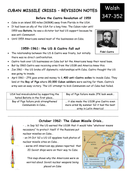 CUBAN MISSILE CRISIS – REVISION NOTES Before the Castro