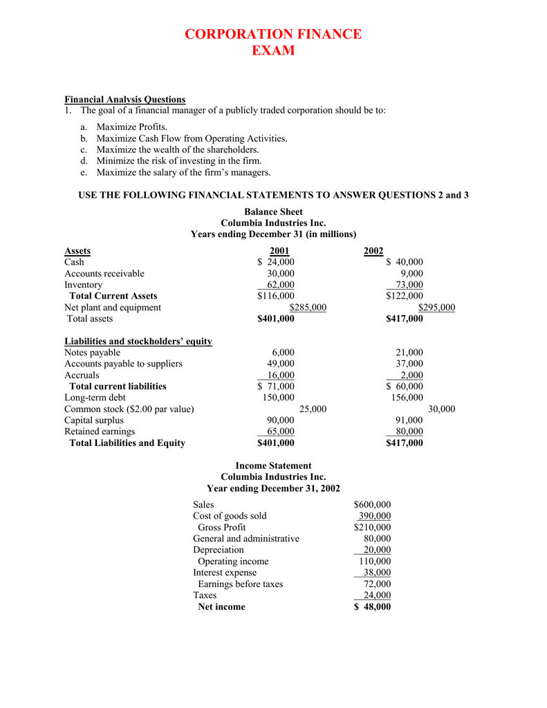 Corporation Finance Answer Key to Exam