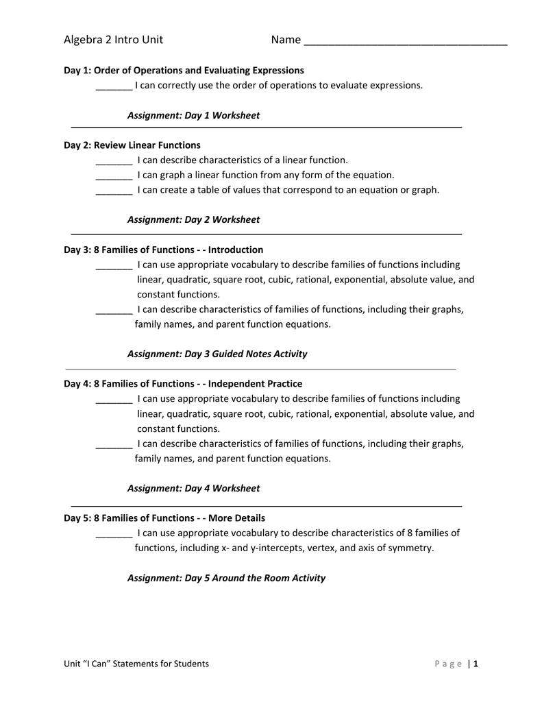 Assignment Sheet Warren County Schools