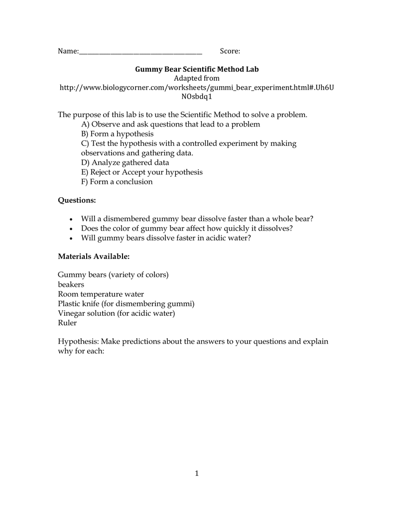 Gummy Bear Scientific Method Lab – Writing a Hypothesis Worksheet