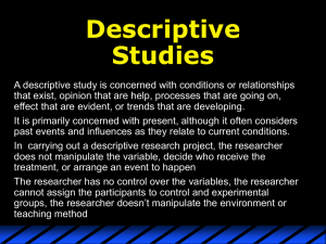 Descriptive Studies