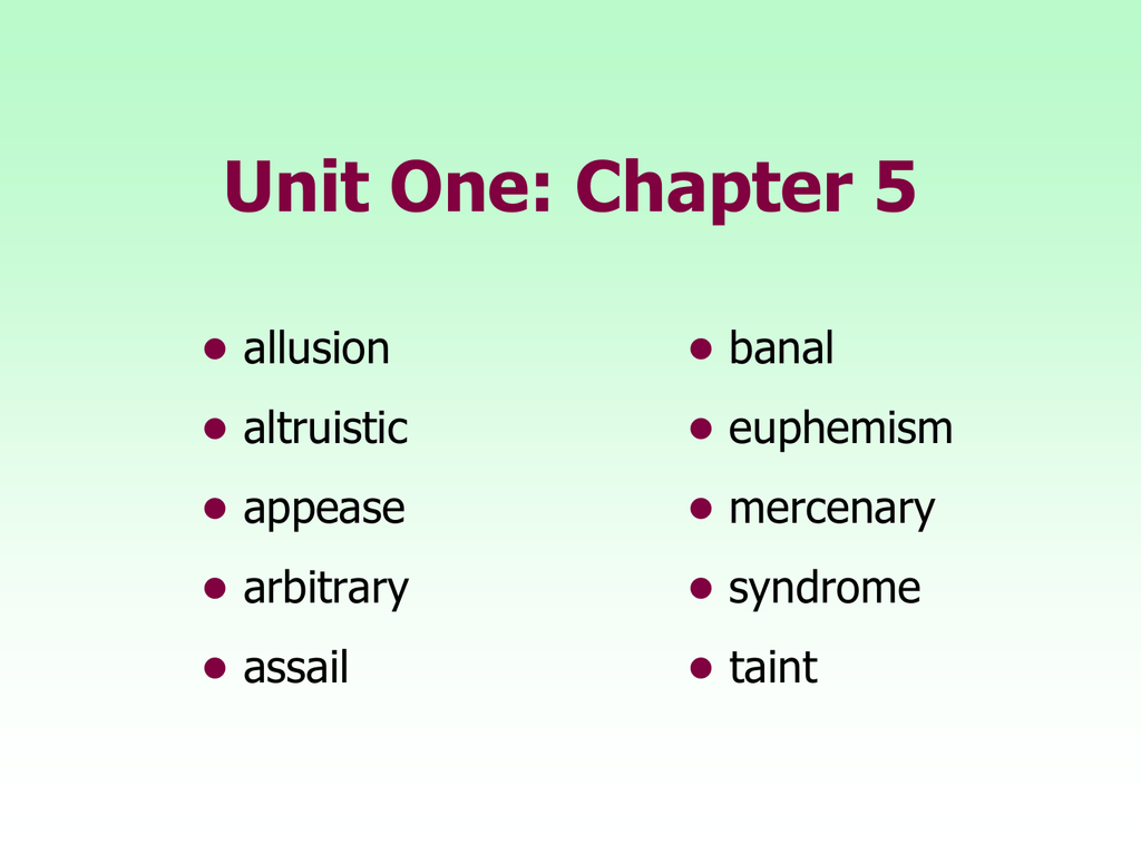 Chapter Three: Supporting Details
