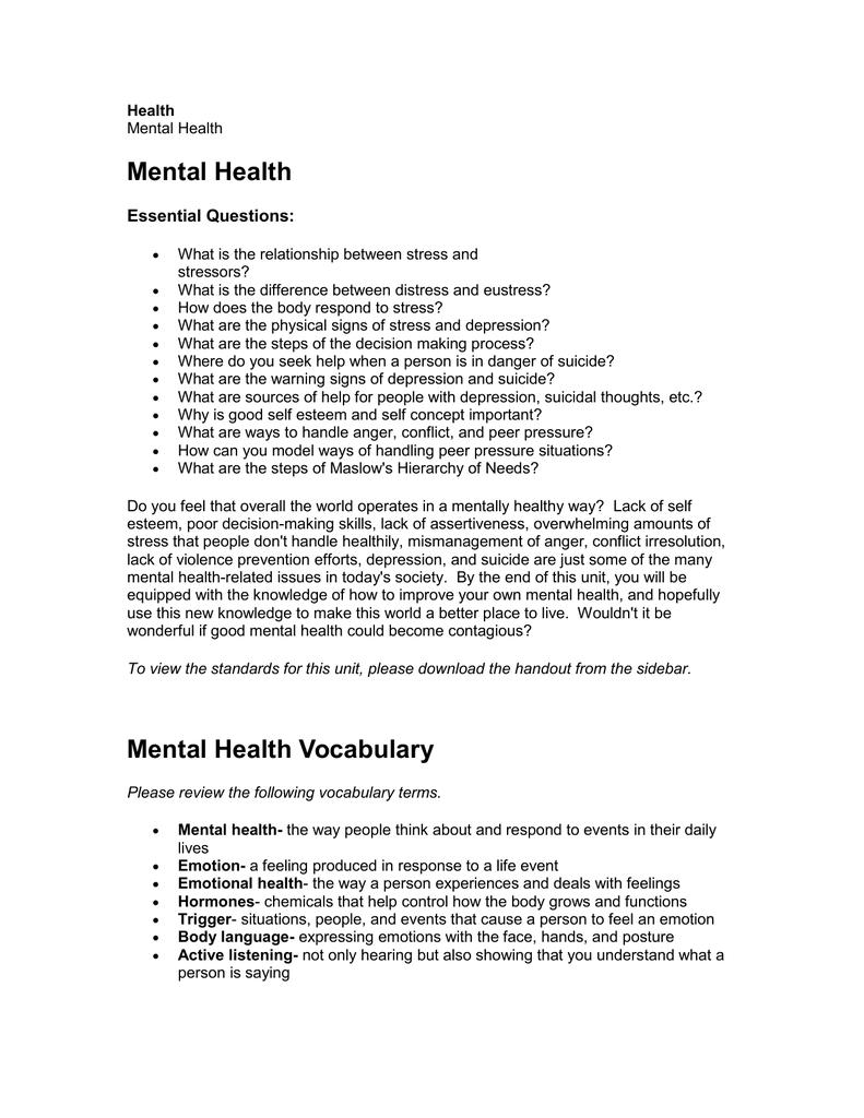 Mental Health Unit Cherokee County Schools
