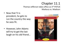 jefferson vs madison Vs john adams (federalist) thomas jefferson (democratic-republican) under  president  president thomas jefferson secretary of state james madison.