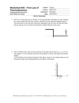 Worksheet 35 - First Law of Thermodynamics