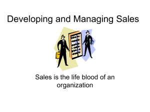 Developing and Managing Sales