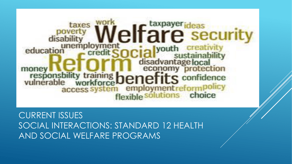 Standard 12 Health And Social Welfare Programs