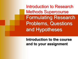 Introduction to Research Methods Supercourse