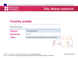 Country puzzle - EAL Nexus