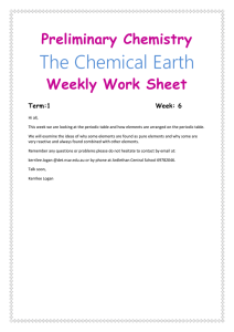Preliminary Chemistry The Chemical Earth Weekly Work