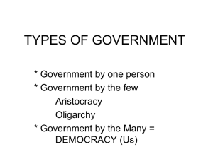 PowerPoint Presentation - TYPES OF GOVERNMENT