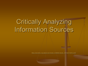 Critically Analyzing Information Sources