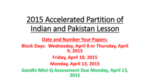 2015 Academic A Partition of Indian and Pakistan Lesson