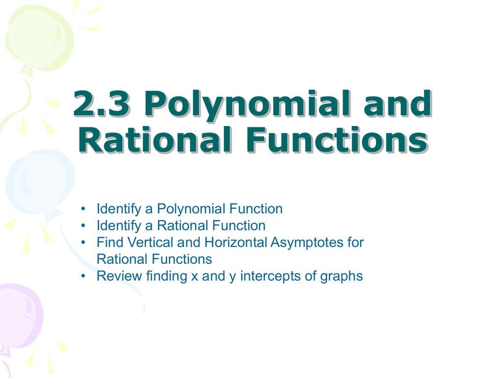 2 3 Polynomial and Rational Functions