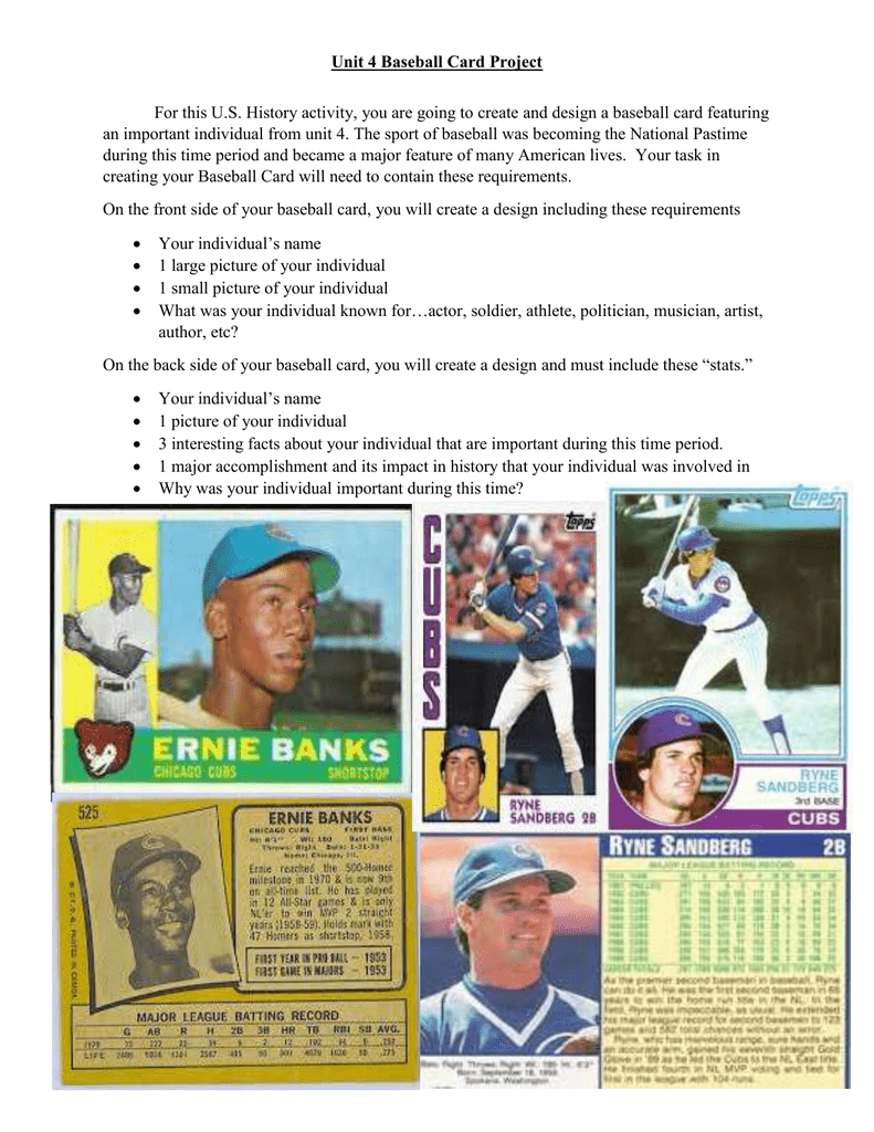Unit 4 Project Baseball Card Information