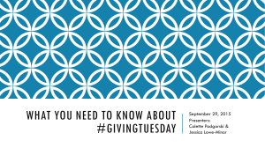 What You NEED TO KNOW ABOUT #GIVINGTUESDAY