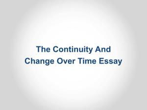 THE CONTINUITY AND CHANGE OVER TIME ESSAY