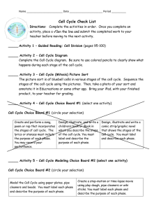 Cell Cycle Checklist