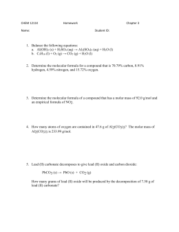 1 Chemistry 133 Problem Set Introduction