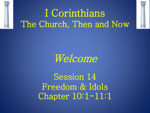 I Corinthians The Church Then and Now